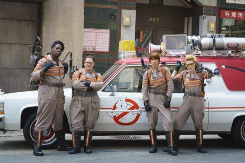 Ghostbuster's Patty Tolan (Leslie Jones), Abby Yates (Melissa McCarthy), Erin Gilbert (Kristen Wiig) and Jillian Holtzmann (Kate McKinnon) in Columbia Pictures' GHOSTBUSTERS.